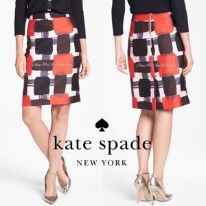 Kate Space abstract square silk blend skirt